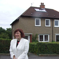 Sarah Boyack MSP on a visit to the Rutherglen & Cambuslang Housing Association solar project